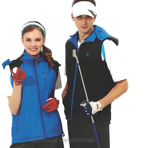 日本KAWASAKI男女運動休閒連帽雙面穿背心寶藍K238A