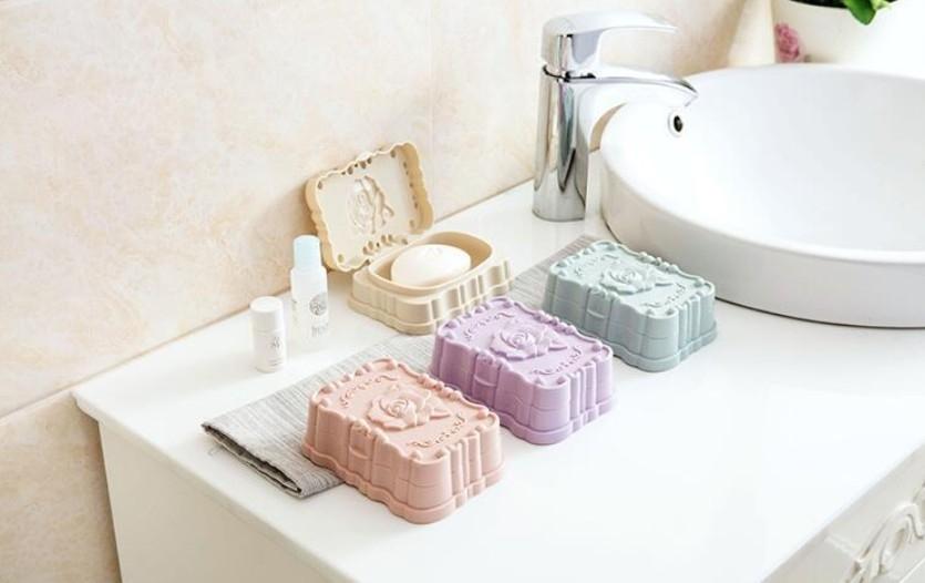 玫瑰花肥皂盒 帶蓋防水香皂盒瀝水 洗臉皂盒 旅行攜帶肥皂盒【H81038】