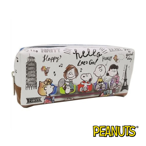旅行款【日本進口】史努比 Snoopy 皮革 筆袋 鉛筆盒 防潑水 防刮材質 PEANUTS - 493557