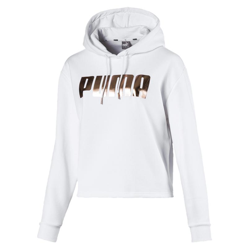 Puma Holiday 女 白 長袖 短版 連帽上衣 運動 休閒 內刷毛 短版T恤 連帽長袖 58185702