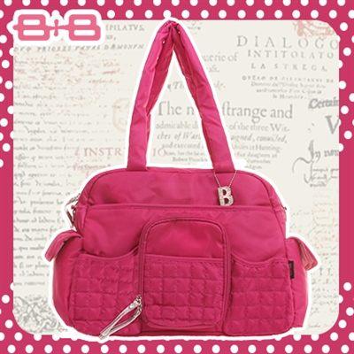 休閒B媽媽空氣包-紅尿布墊保溫袋大空間肩揹側背媽咪包HAPPY B B E-B-95193D-F