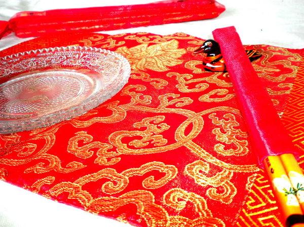 紗袋筷架筷組筷子喜筷囍筷筷套婚禮小物快快生子【桌巾筷套組】/6入