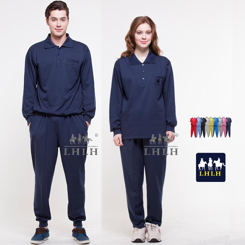 深藍色丈青運動套裝休閒套裝團體制服長袖男女Polo衫現貨