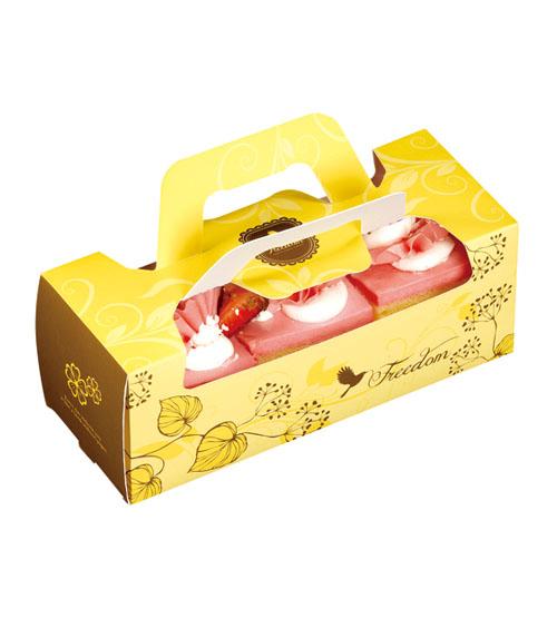 20CM黃色開窗小水果條長條蛋糕盒奶凍捲生乳捲蜂蜜蛋糕外帶提盒烘焙包裝餅乾糖果紙盒
