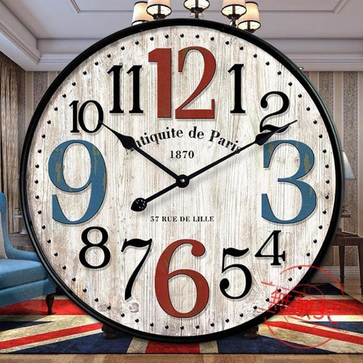 美式復古墻飾鐘客廳壁鐘創意潮流現代簡約時鐘無敵3c旗艦店