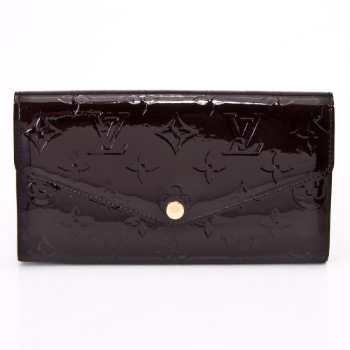 茱麗葉精品全新精品Louis Vuitton LV M90152 Sarah Vernis皮革壓花發財包扣式長夾.紫紅預購