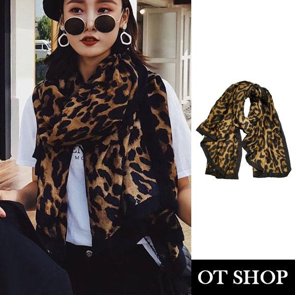 [現貨] OT SHOP防曬空調絲巾 豹紋圍巾 棉麻材質 披肩 氣質時尚百搭  穿搭配件 D9054