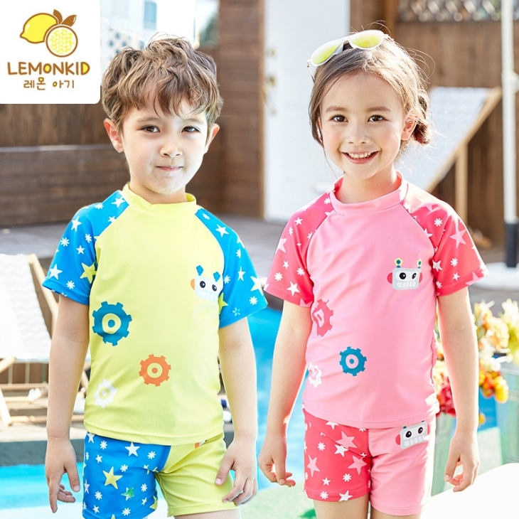 Lemonkid檸檬寶寶可愛機器人卡通星星男女童分體式兒童游泳衣褲男女款LE340316