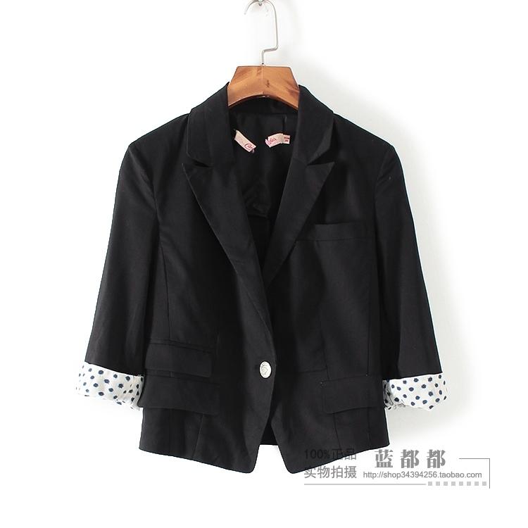 [超豐國際]拉春秋裝女裝黑色OL簡約干練一粒扣西裝外套 25(1入)