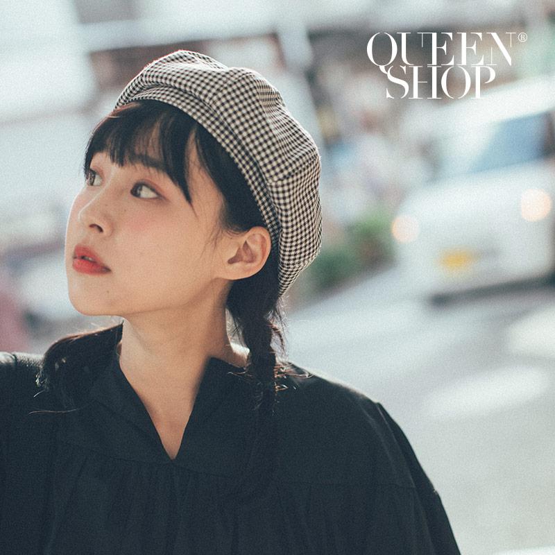 Queen Shop【07020555】小千鳥格紋貝蕾帽*現+預*