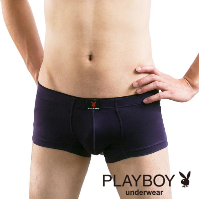 【Playboy】柔軟萊卡彈性低腰平口褲(深貴紫)-PB069