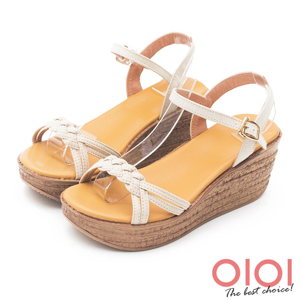 楔型涼鞋 夏日悠悠編織楔型涼鞋(米)*0101shoes【18-129mi】【現+預】