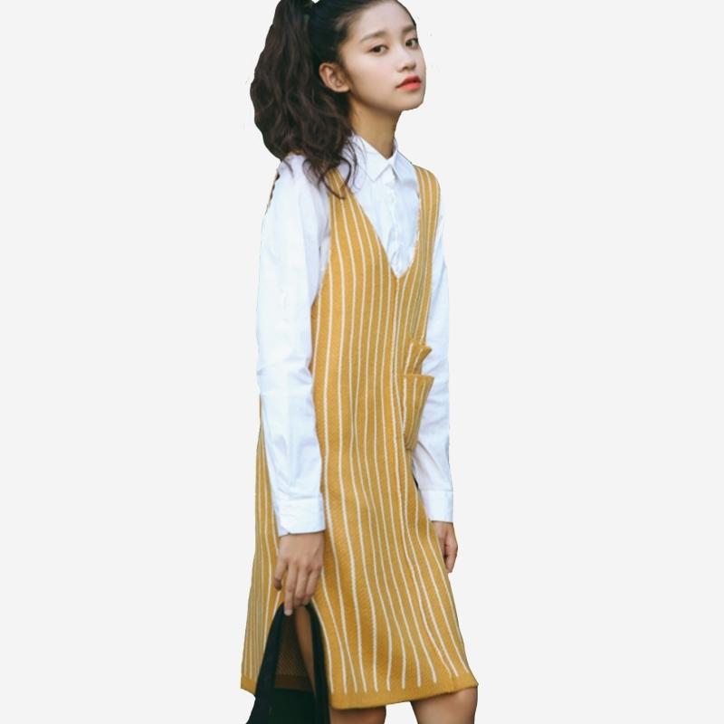 針織毛線直條口袋顯瘦吊帶背心裙  (土黃 酒紅)二色售   (M8FW)