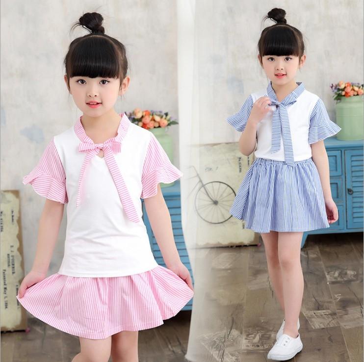 衣童趣韓版甜美水手款女童休閒套裝條紋蝴蝶結綁帶袖口波浪造型氣質套裝