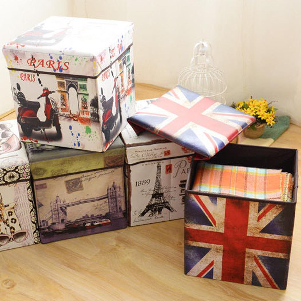 創意彩繪 美式 摺疊收納盒 聖誕節 內衣收納 儲物盒 多功能 嚴選熱銷 收納箱 椅子 館長推薦 板凳
