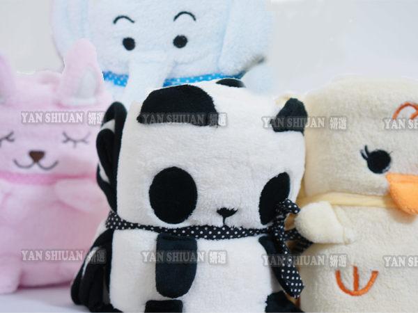 【妍選】藍大象粉小兔黃色小鴉小雞熊貓動物收納毯/小毛毯子/懶人毯/嬰兒被/蓋毯