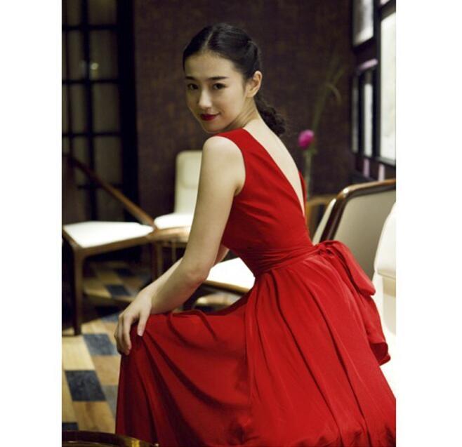 紅色禮服露背深V長禮服長裙沙灘裙YWZ-62緣味站