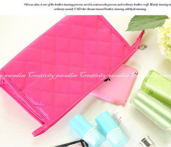 【菱格化妝包M號】時尚韓系保養品彩妝用具收納包手拿包化妝袋洗漱袋