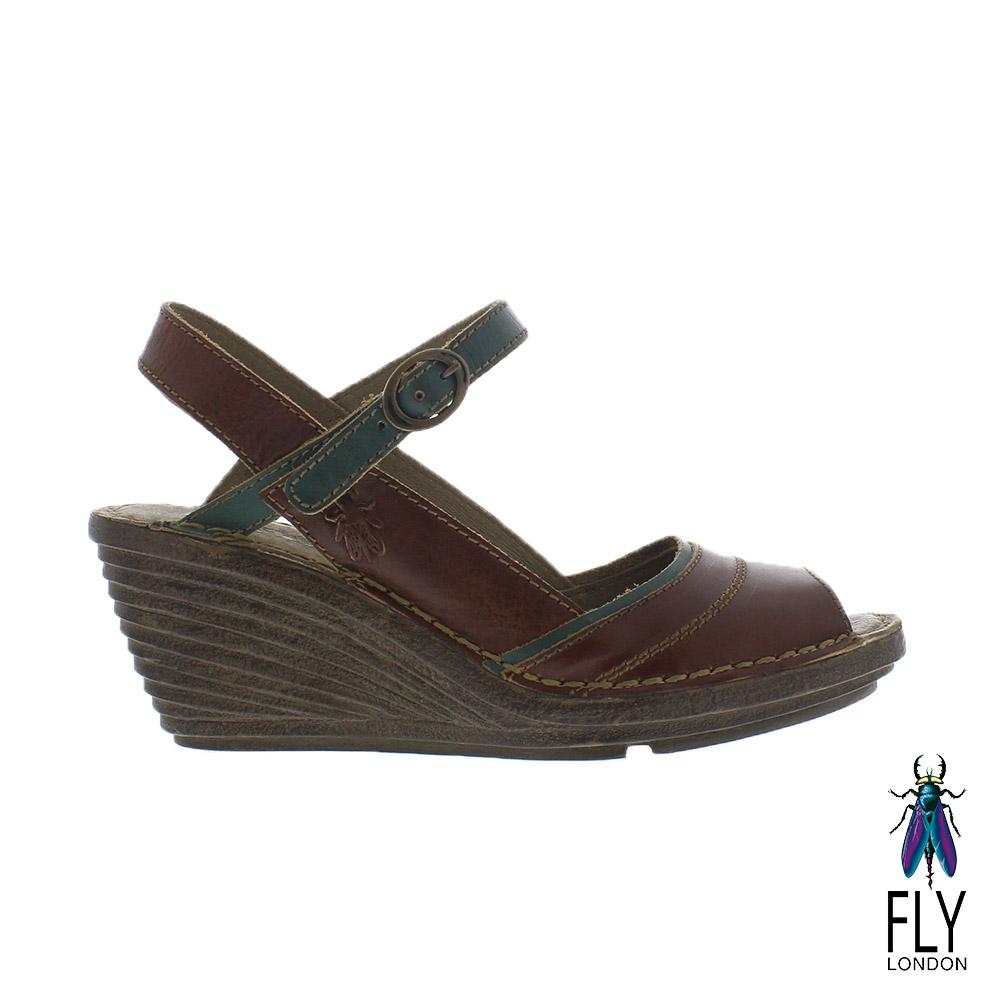 Fly London女Gami魚口描邊真皮楔型高跟涼鞋綠邊咖