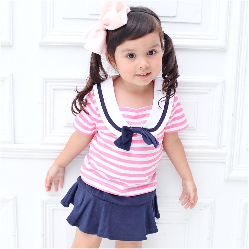 Augelute Baby短袖粉嫩條紋水手服套裝52215
