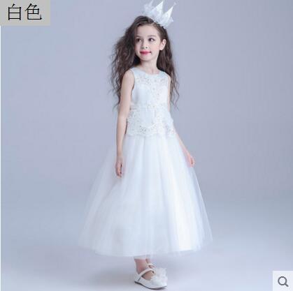 熊孩子女童禮服婚紗裙兒童公主裙白色