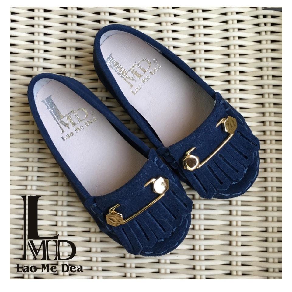 童鞋新款金屬飾扣流蘇深藍麂皮休閒鞋親子鞋男女童鞋LaoMeDea