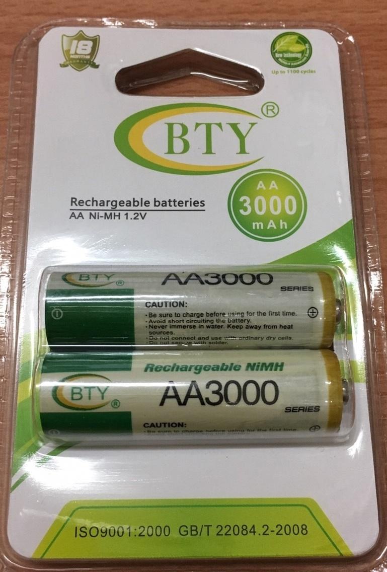 【世明國際】BTY 3號 充電電池 AA 3000mAh  (一卡兩入)