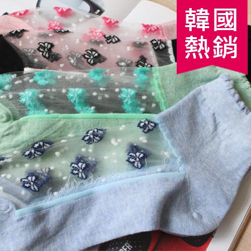 韓國 熱賣 粉色系 蝴蝶結 點點 滿版 半透明 短襪 襪子