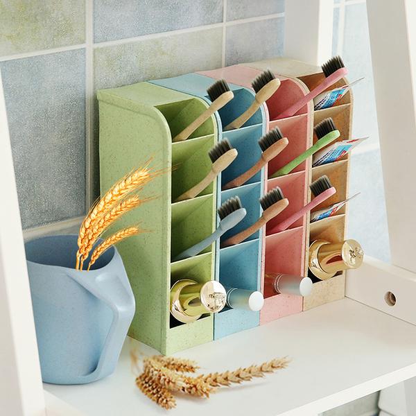 北歐風小麥秸稈四格多功能桌面收納盒襪子飾品鉛筆文具雜物收納盒預購CH1441