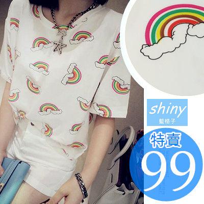 【D838-1】shiny藍格子-瑕疵特賣.彩虹圖案寬鬆圓領短袖T恤