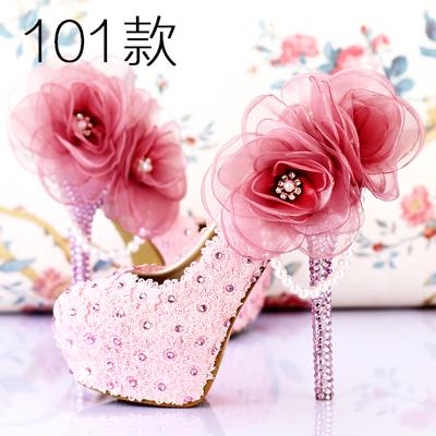 珍珠水鑽婚鞋超高跟細跟拍婚紗照鞋尖頭新娘鞋女涼鞋  :666120038