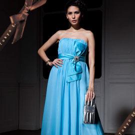 東京衣服-細緻禮物 網紗壓褶緞面蝶結水鑽長禮服 藍色