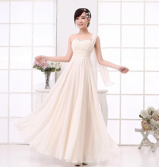 ✿ 3C膜露露 ✿  長款短款單肩粉色伴娘裙單肩伴娘禮服
