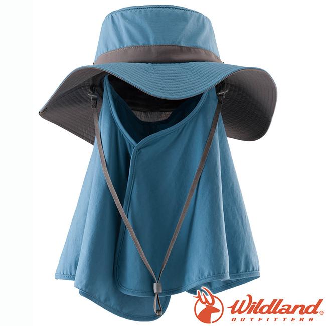 Wildland荒野W1033-69灰藍中性抗UV調節式遮陽帽防曬工作帽登山健行休閒帽遮臉大圓盤帽