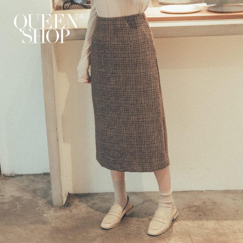 Queen Shop【03020599】毛料細格紋長裙 S/M/L*現+預*
