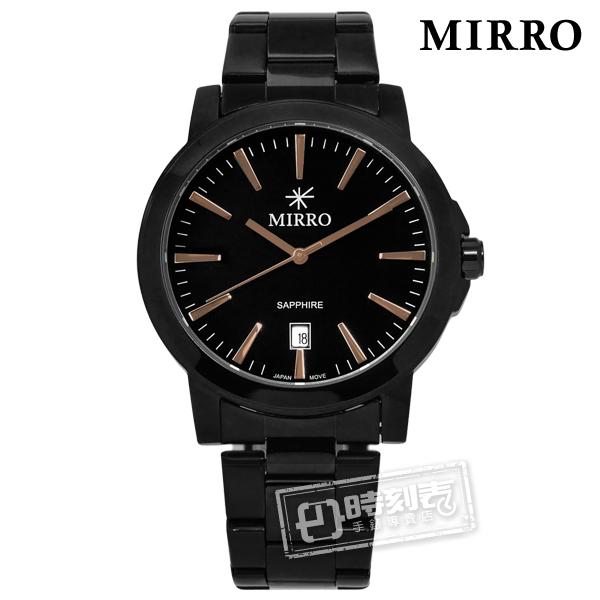 MIRRO 米羅 / 6952MB-GBB / 浪漫時刻藍寶石水晶玻璃日期不鏽鋼手錶 鍍黑 41mm