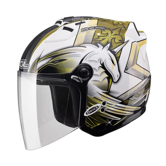 【SOL 27S 獨角獸三代 白黃 安全帽】半罩、內襯全可拆洗、免運 加贈好禮