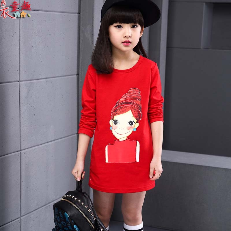 衣童趣 ♥中大女童 可愛娃娃塗鴉 棉質長袖長版T恤 休閒百搭款 連身裙 兩色可選