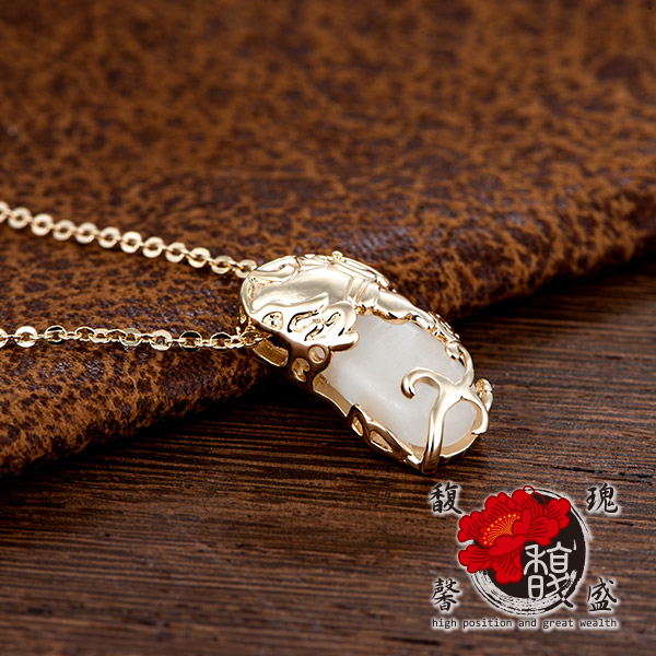 貔貅香檳金貓眼石貔貅項鍊錢鍍銀水晶情侶招財開運含開光馥瑰馨盛NS0251