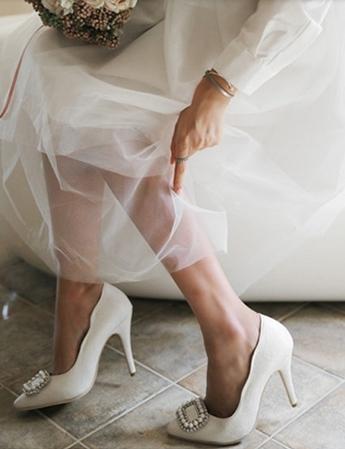 春季高跟鞋細跟尖頭單鞋方扣水鑽婚鞋白色韓版10cm : hmz0013