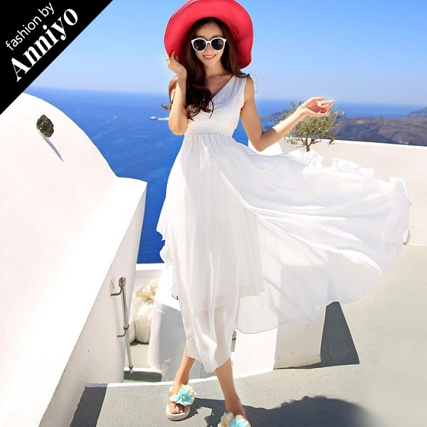 Anniyo安妞波西米亞無袖V領裙襬開叉修身顯瘦海邊度假純色氣質雪紡長裙沙灘裙長洋裝白色