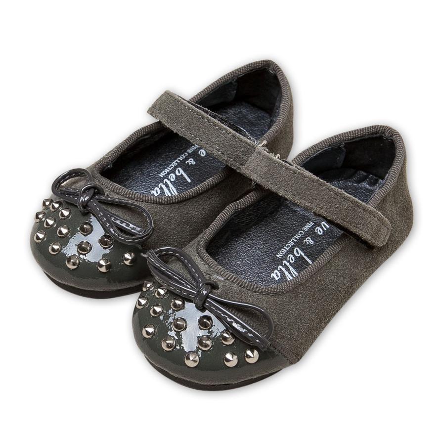 嬰兒鞋娃娃鞋鞋子Dave Bella深灰鉚釘拼接皮料瑪莉珍款學布鞋DB1661