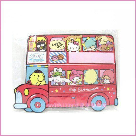 asdfkitty可愛家☆kitty甜點巴士造型便條紙/便利貼/標籤貼-日本正版