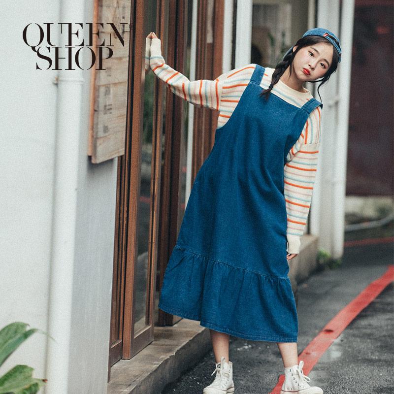 Queen Shop【03060199】基本休閒百搭牛仔吊帶洋裝*現+預*