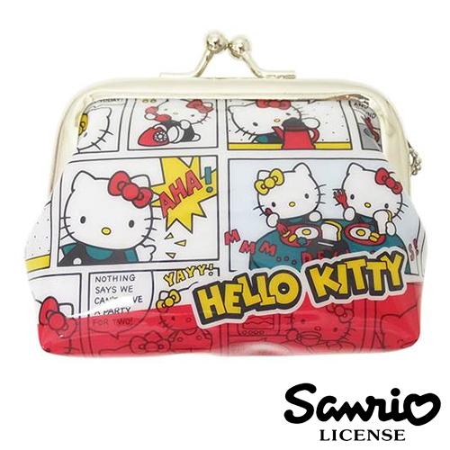 漫畫款【日本進口正版】Hello Kitty 零錢包 珠扣包 防水 凱蒂貓 - 047843