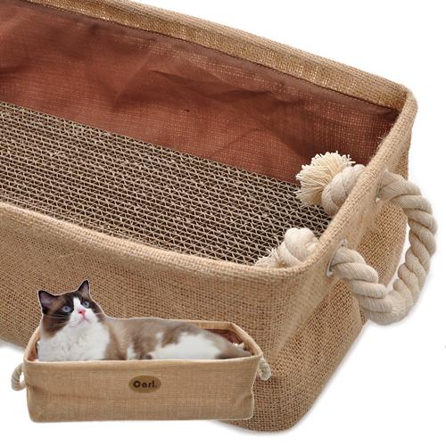 【寵物王國】卡爾-多用途黃麻-貓睡盆/抓盆【收納盒】鄉村風