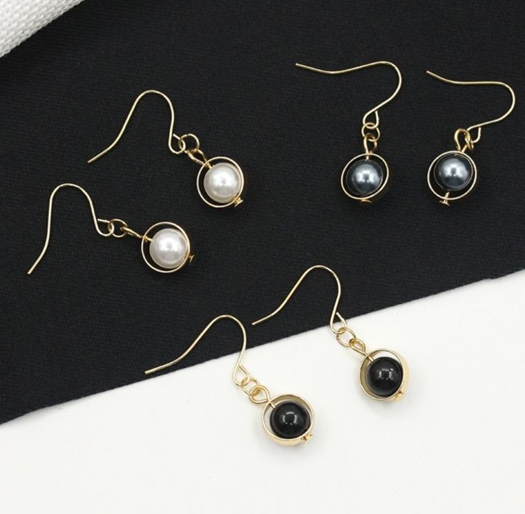 日韓流行耳飾長短款圓環珍珠吊墜耳環簡約百搭