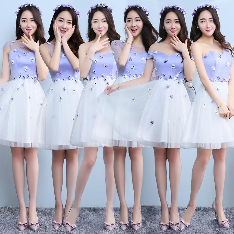 伴娘服紫色伴娘團禮服短款韓式畢業禮服