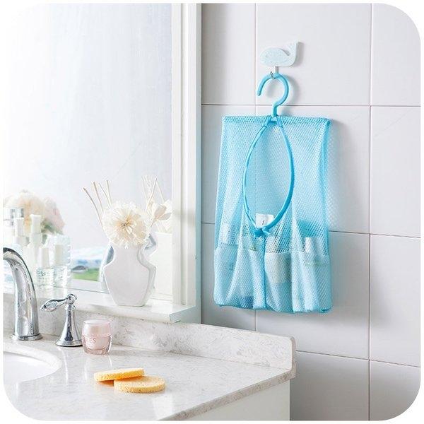 MY COLOR可掛式多用途收納網袋掛袋透氣置物懸掛曬衣夾子廚房浴室多用L16-1