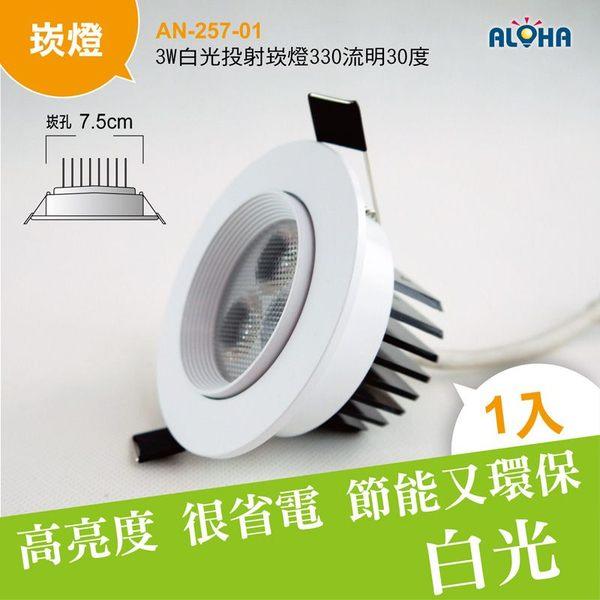 LED照明3W白光投射崁燈330流明30度-崁孔7.5cm AN-257-01